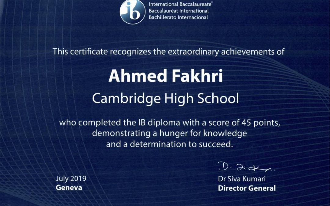 Congratulation to Ahmed Fakhri